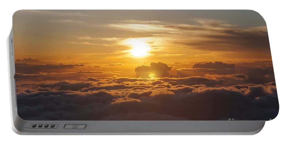 Haleakala National Park Volcano Area Maui Hawaii Evening Sky Skies Cloud Clouds Sunset Sunsets Sun Cloud Clouds Parks Portable Battery Charger featuring the photograph At The End Of The Day by Bob Phillips
