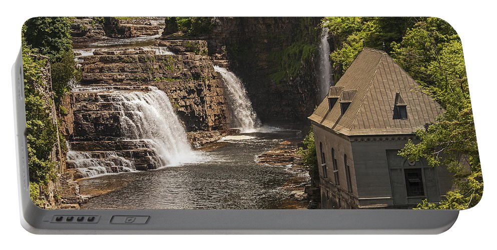 Ausable Chasm Ny Portable Battery Charger featuring the photograph At The Falls In Ausable Ny by Eric Swan