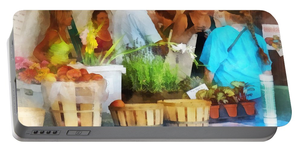 Farmers Market Portable Battery Charger featuring the photograph At The Farmer's Market by Susan Savad