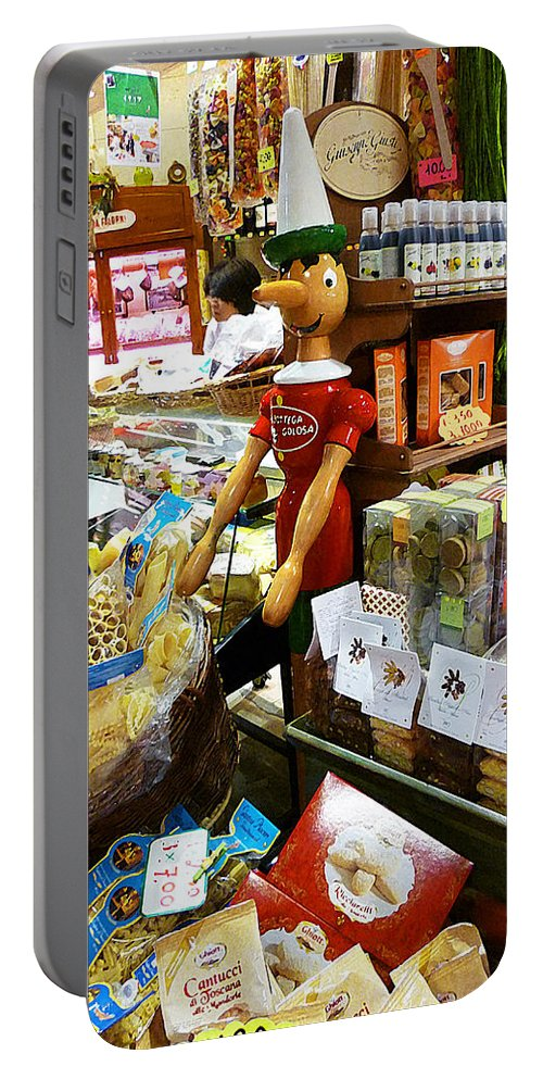 Market Portable Battery Charger featuring the painting At The Florence Market by Irina Sztukowski