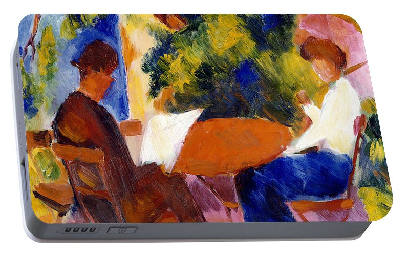 At The Garden Table Portable Battery Charger featuring the painting At The Garden Table by August Macke