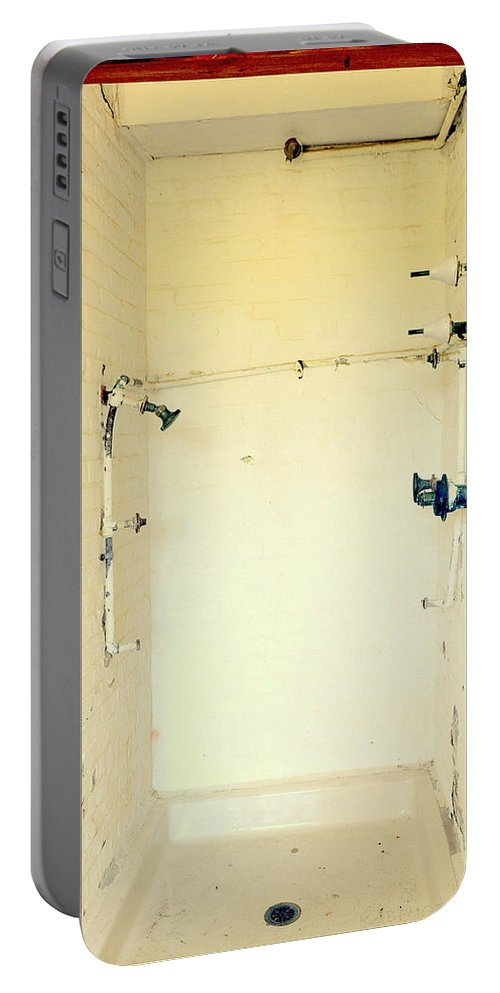 Atalaya Shower Portable Battery Charger featuring the photograph Atalaya Castle Shower by Kathy Barney