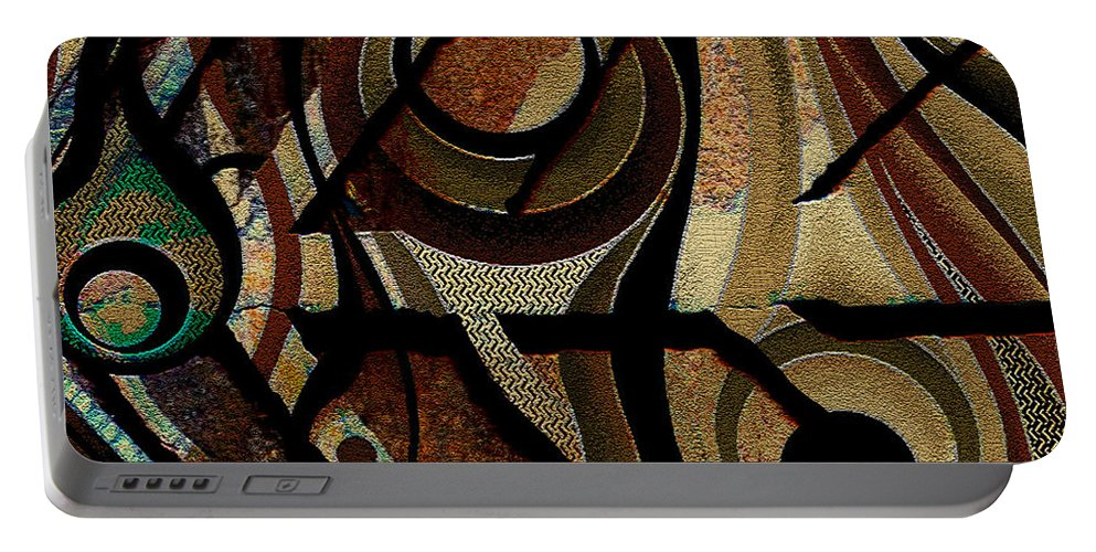Abstract Portable Battery Charger featuring the digital art Atlanta Earth Abstract Art by Mary Clanahan