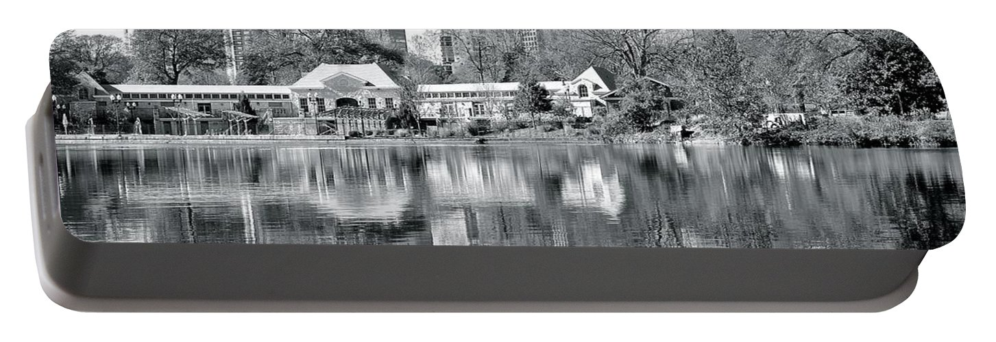 Atlanta Portable Battery Charger featuring the photograph Atlanta Reflecting In Black And White by Frozen in Time Fine Art Photography