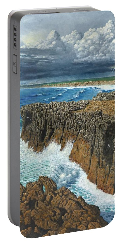 Landscapes Portable Battery Charger featuring the painting Atlantic Breakers Pontal Portugal by Richard Harpum