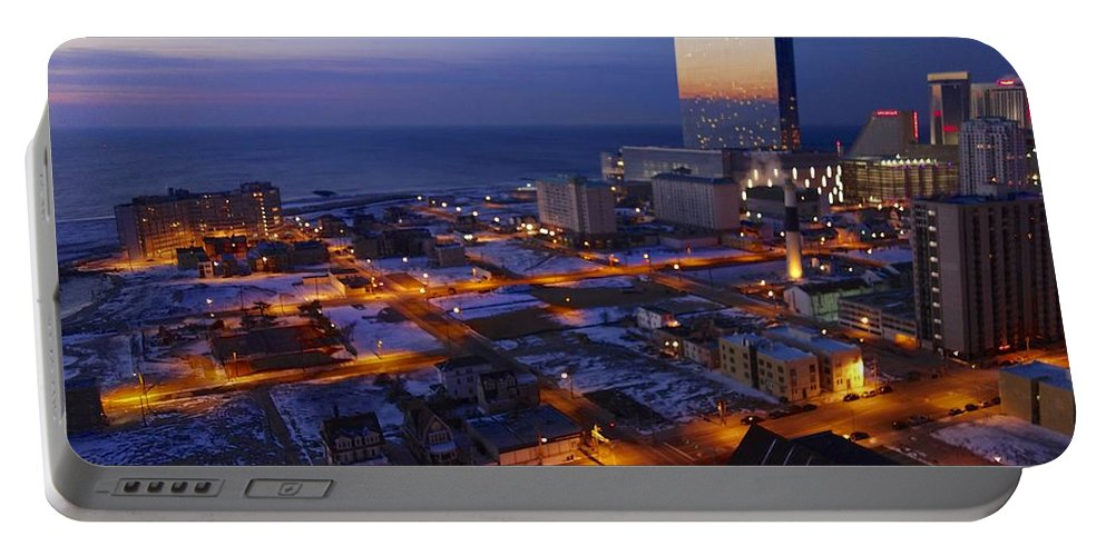 Atlantic City At Dawn Portable Battery Charger featuring the photograph Atlantic City At Dawn by Joan Reese