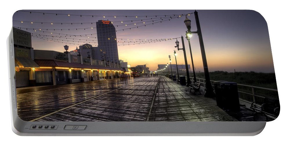Atlantic Portable Battery Charger featuring the photograph Atlantic City Boardwalk In The Morning by Bill Cannon