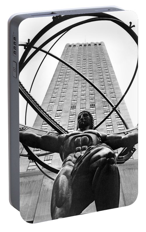 1930's Portable Battery Charger featuring the photograph Atlas In Rockefeller Center by Underwood Archives