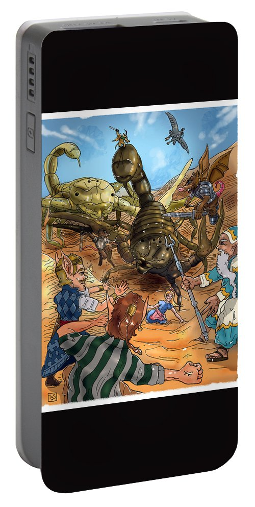 Wurtherington Portable Battery Charger featuring the painting Attacked By Scorpions by Reynold Jay