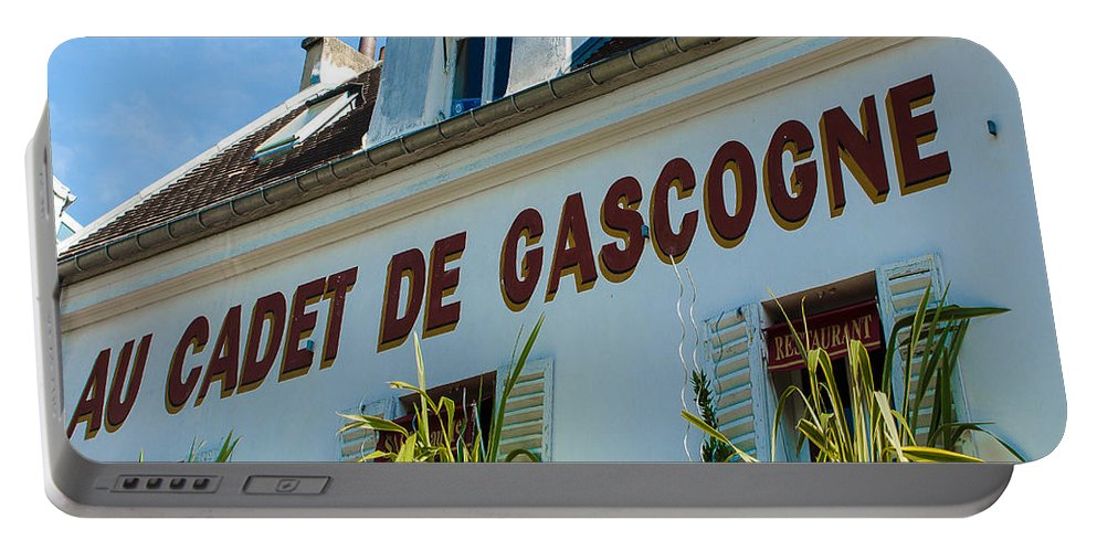 Sign Portable Battery Charger featuring the photograph Au Cadet De Gascogne by Dany Lison