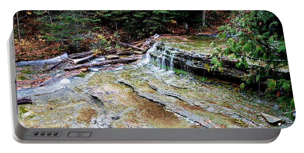 Optical Playground By Mp Ray Portable Battery Charger featuring the photograph Au Train Falls II by Optical Playground By MP Ray