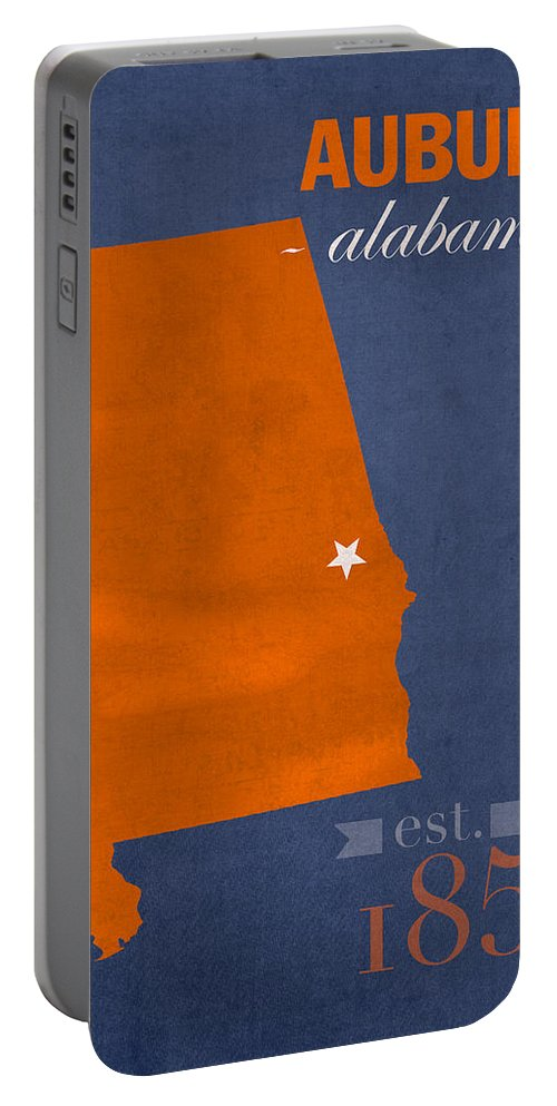 Auburn University Portable Battery Charger featuring the mixed media Auburn University Tigers Auburn Alabama College Town State Map Poster Series No 016 by Design Turnpike