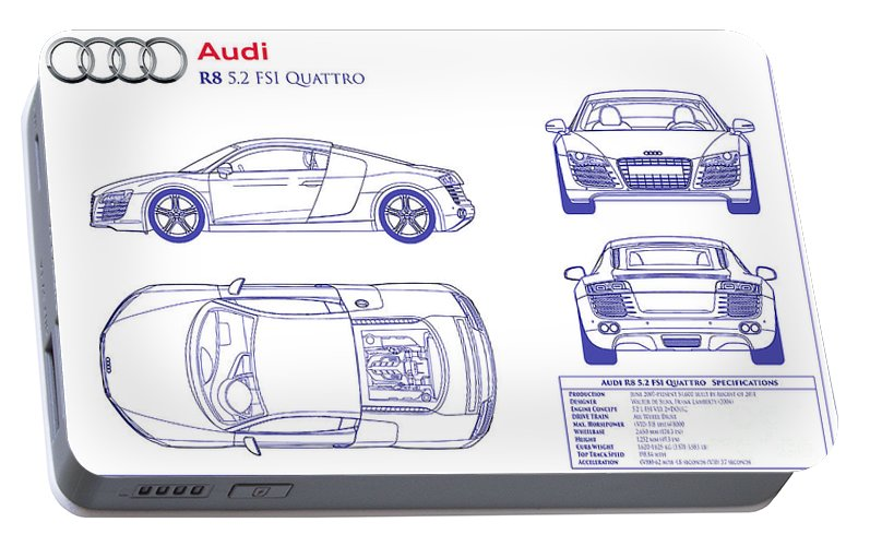Audi r8 blueprint portable battery charger for sale by jon neidert audi r8 blueprint portable battery charger featuring the photograph audi r8 blueprint by jon neidert malvernweather Images