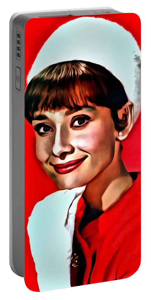 Celebrities Portable Battery Charger featuring the painting Audrey by Florian Rodarte