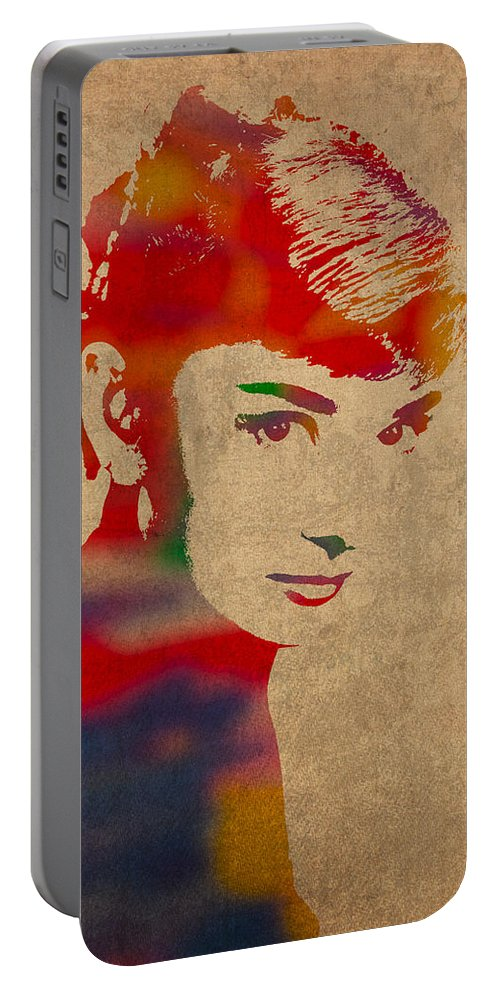 Audrey Hepburn Actress Watercolor Portrait On Worn Distressed Canvas Portable Battery Charger featuring the mixed media Audrey Hepburn Watercolor Portrait On Worn Distressed Canvas by Design Turnpike