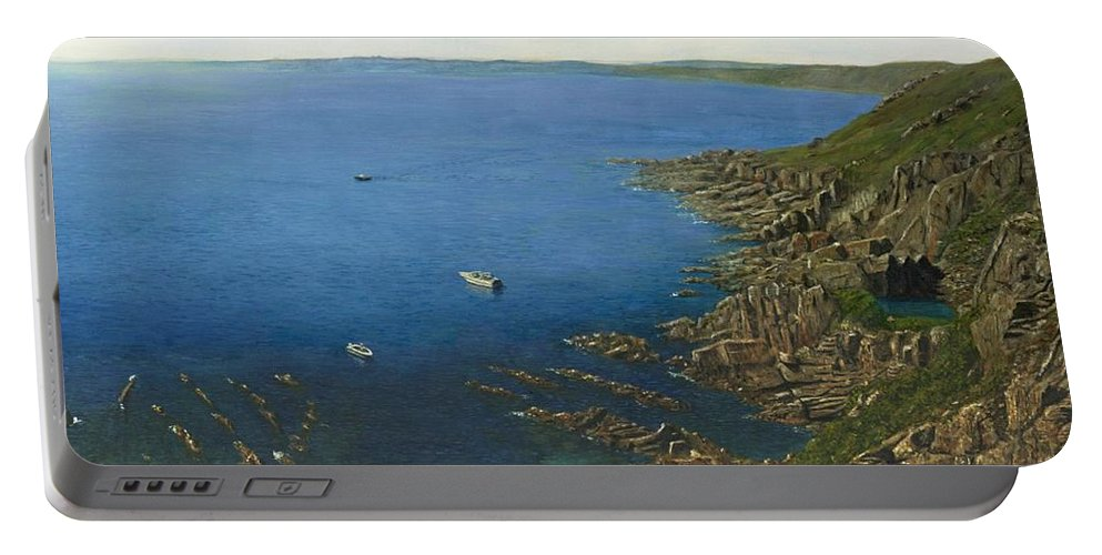 Landscape Portable Battery Charger featuring the painting August Afternoon At Whitsand Bay Cornwall by Richard Harpum
