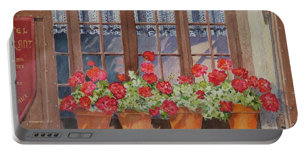 Watercolor Portable Battery Charger featuring the painting August At The Auberge by Mary Ellen Mueller Legault