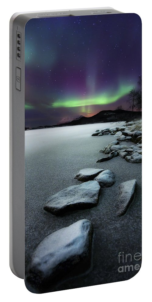 Aurora Borealis Portable Battery Charger featuring the photograph Aurora Borealis Over Sandvannet Lake by Arild Heitmann