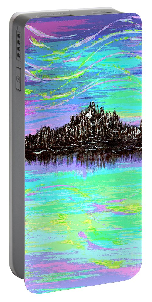 Aurora Borealis Portable Battery Charger featuring the digital art Aurora Borealis Poster by Alys Caviness-Gober