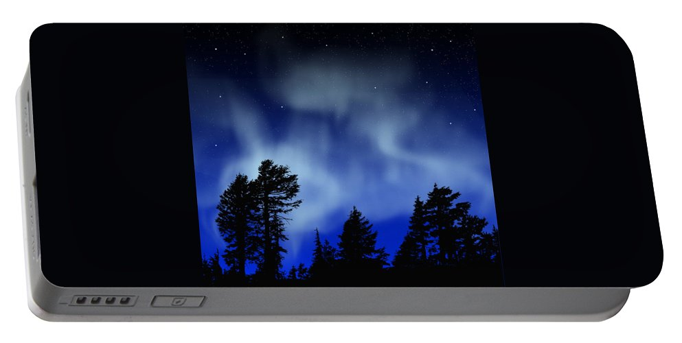 Aurora Borealis Mural Portable Battery Charger featuring the painting Aurora Borealis Wall Mural by Frank Wilson