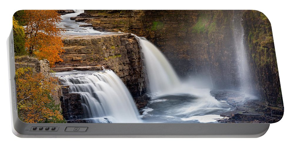 America Portable Battery Charger featuring the photograph Ausable Chasm Waterfall by Mihai Andritoiu