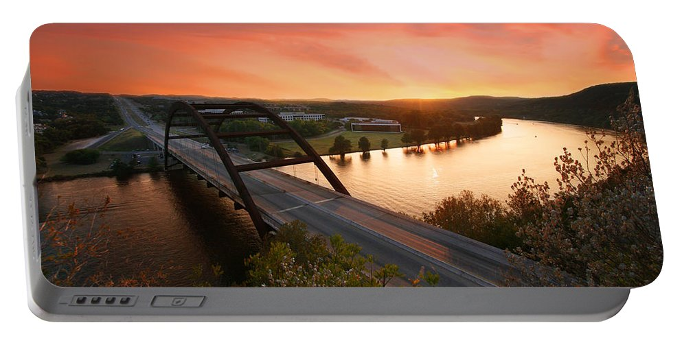 Volcanic Atmosphere Portable Battery Charger featuring the photograph Austin 360 Volcanic Sunset by Randy Smith