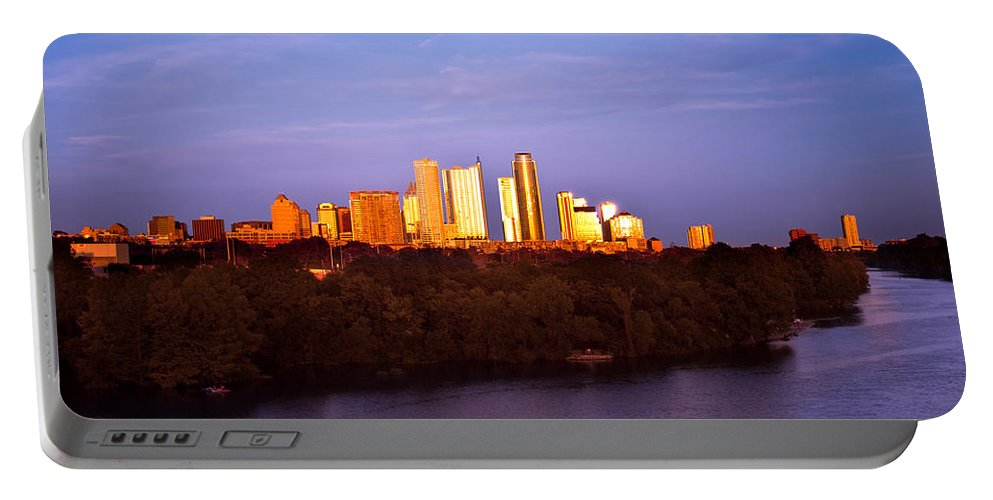 Sunset Portable Battery Charger featuring the photograph Austin At Last Light by Randy Smith