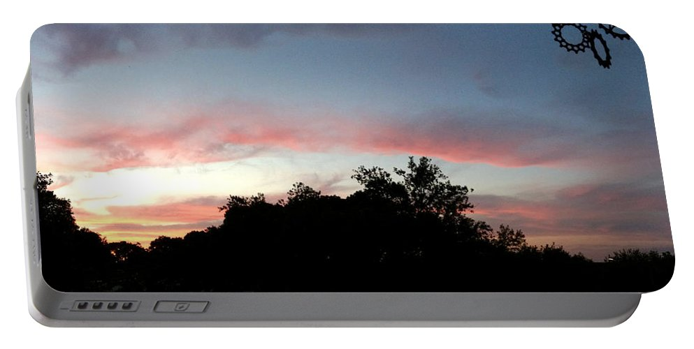 Austin Portable Battery Charger featuring the painting Austin Sunset by Troy Caperton