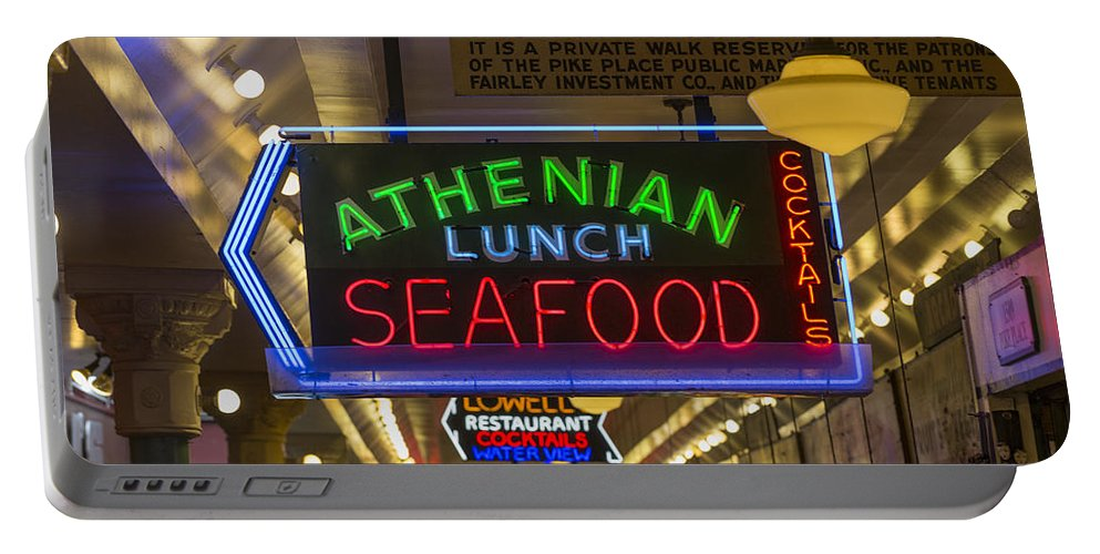 Sign Portable Battery Charger featuring the photograph Authentic Lunch Seafood by Scott Campbell