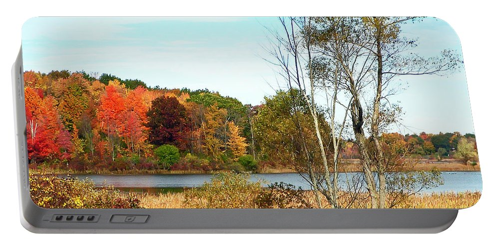 Autumn Portable Battery Charger featuring the photograph Autmn Pond Closer Look by Aimee L Maher ALM GALLERY