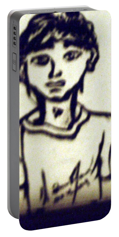Drawing Portable Battery Charger featuring the drawing Autographed Drawing by Shea Holliman