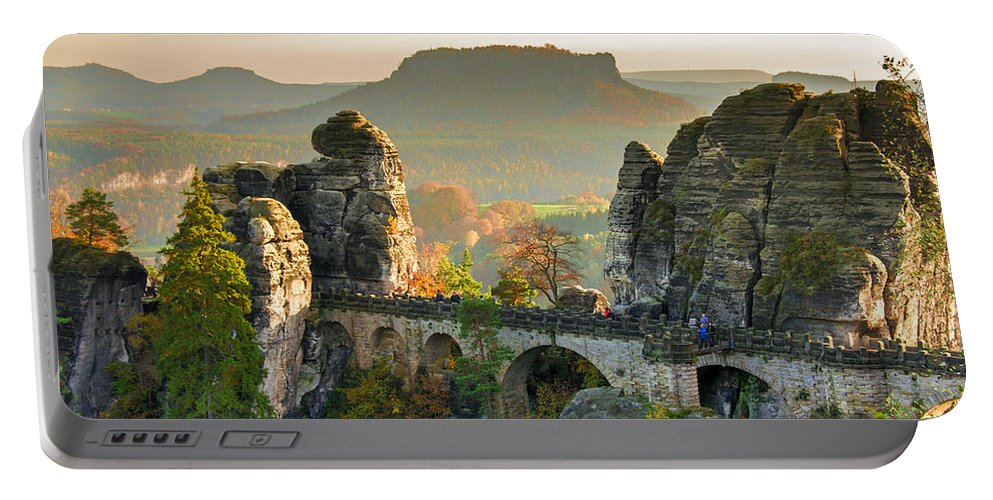 Germany Portable Battery Charger featuring the photograph Autumn Afternoon On The Bastei Bridge by Sun Travels