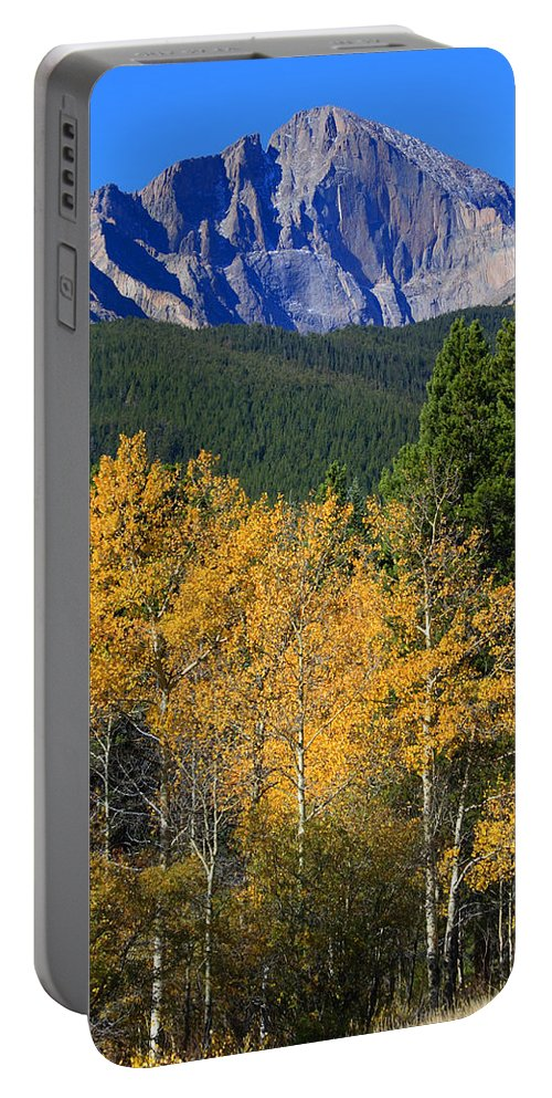 Longs Peak Portable Battery Charger featuring the photograph Autumn Aspens And Longs Peak by James BO Insogna