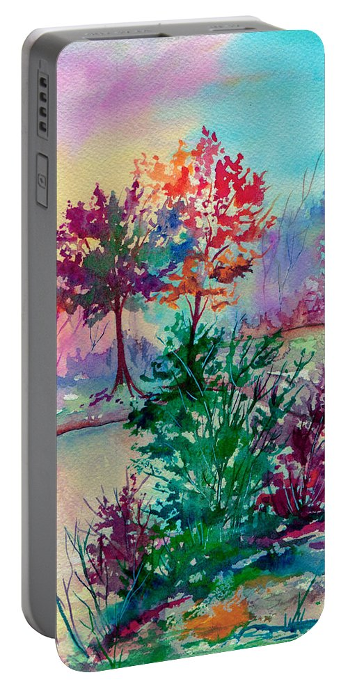 Watercolor Portable Battery Charger featuring the painting Autumn Aura by Brenda Owen