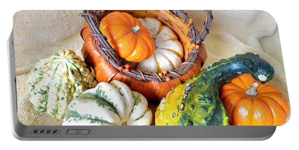 Basket Portable Battery Charger featuring the photograph Autumn Basketful by Mary Deal