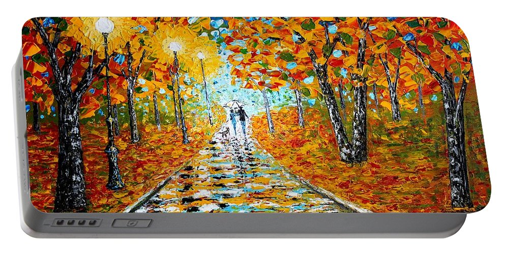 Impressionism Autumn Portable Battery Charger featuring the painting Autumn Beauty Original Palette Knife Painting by Georgeta Blanaru