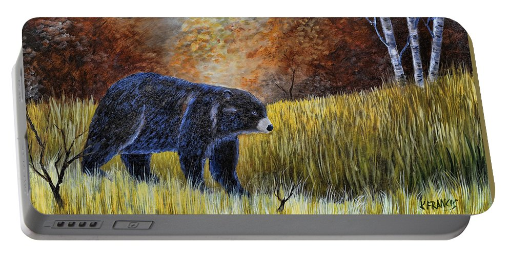 Kenny Francis Portable Battery Charger featuring the painting Autumn Black Bear by Kenny Francis
