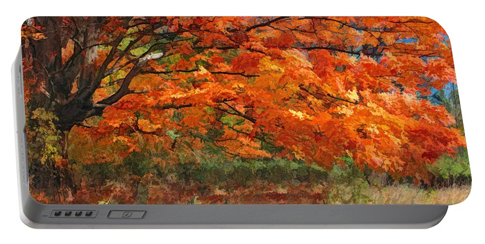 Maple Portable Battery Charger featuring the painting Autumn Blaze Panorama by Christopher Arndt