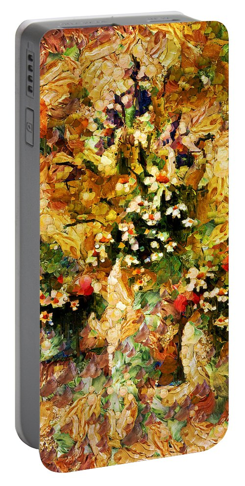 Abstract Portable Battery Charger featuring the mixed media Autumn Bounty - Abstract Expressionism by Georgiana Romanovna