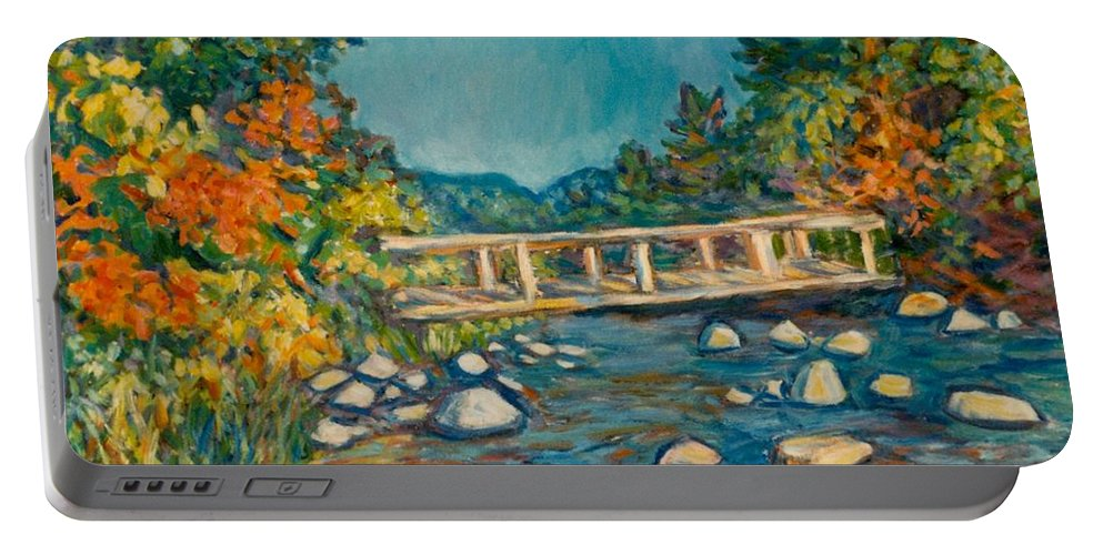 Kendall Kessler Portable Battery Charger featuring the painting Autumn Bridge by Kendall Kessler