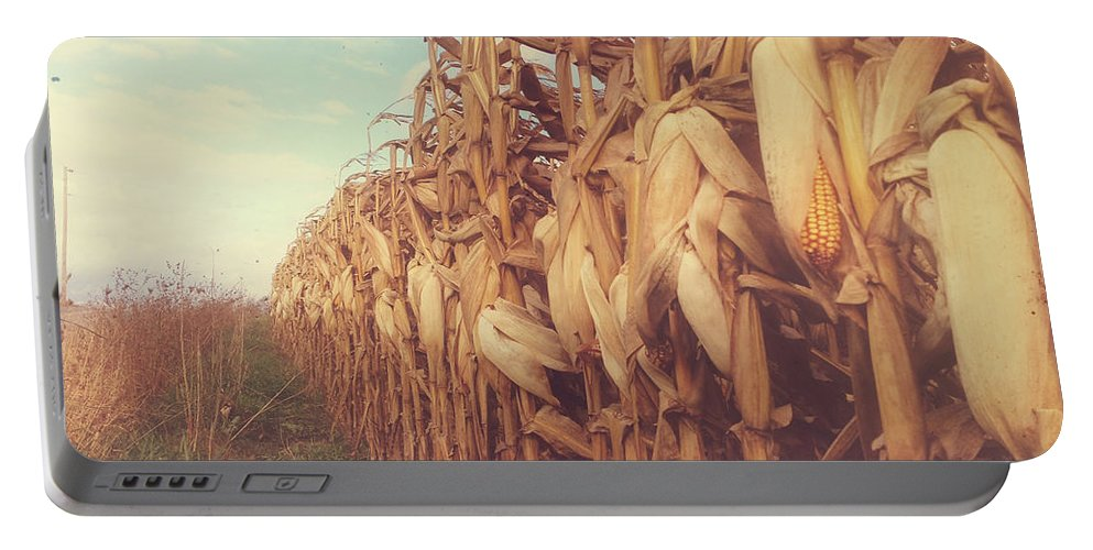 Pennsylvania Portable Battery Charger featuring the photograph Autumn Corn Field by Olivia StClaire