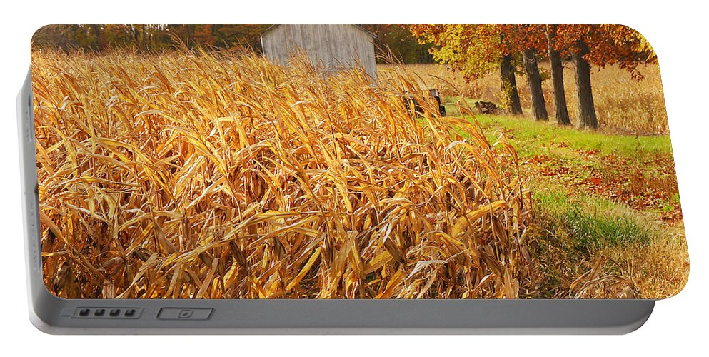 Corn Portable Battery Charger featuring the photograph Autumn Corn by Mary Carol Story