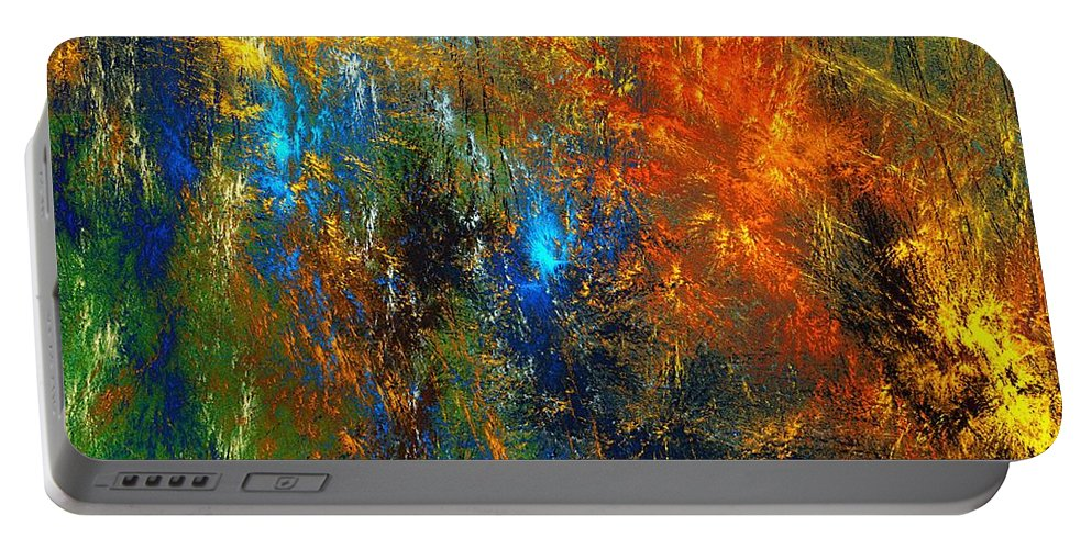 Abstract Portable Battery Charger featuring the digital art Autumn Fantasy 1013 by David Lane