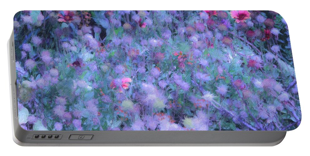 Blue Portable Battery Charger featuring the photograph Autumn Flowers In Blue by Angela Stanton