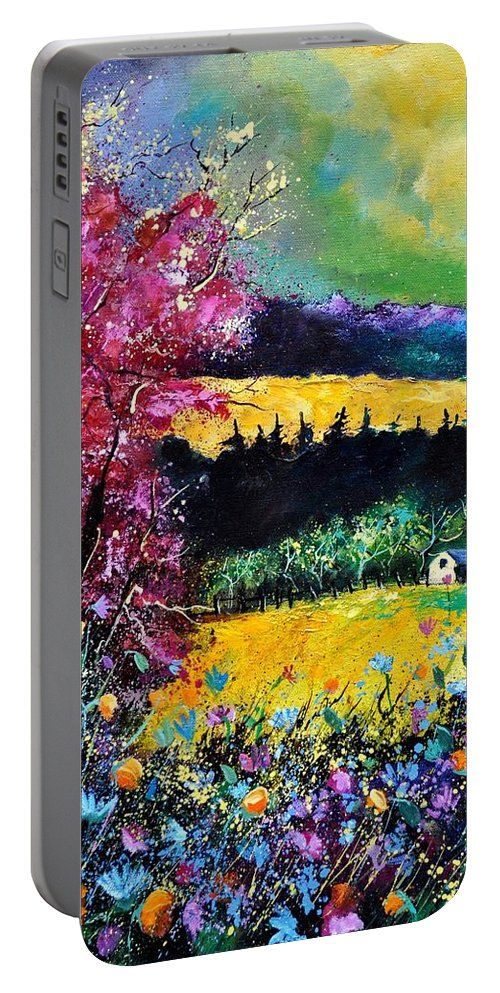 Landscape Portable Battery Charger featuring the painting Autumn flowers by Pol Ledent