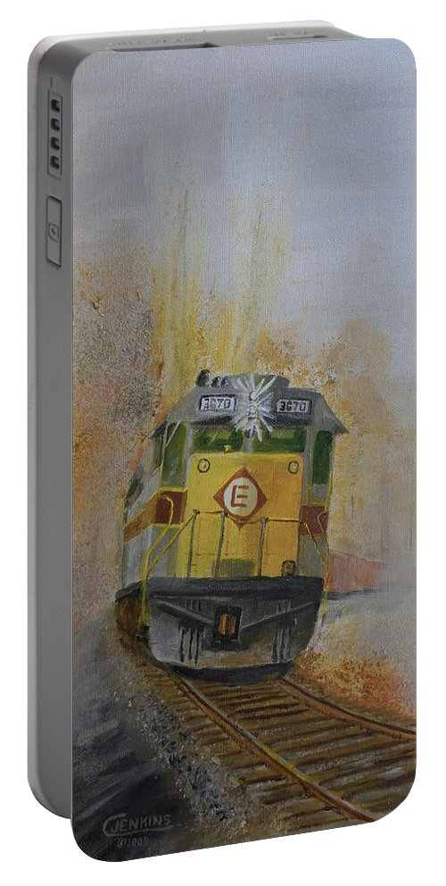 Train Portable Battery Charger featuring the painting Autumn Fog by Christopher Jenkins