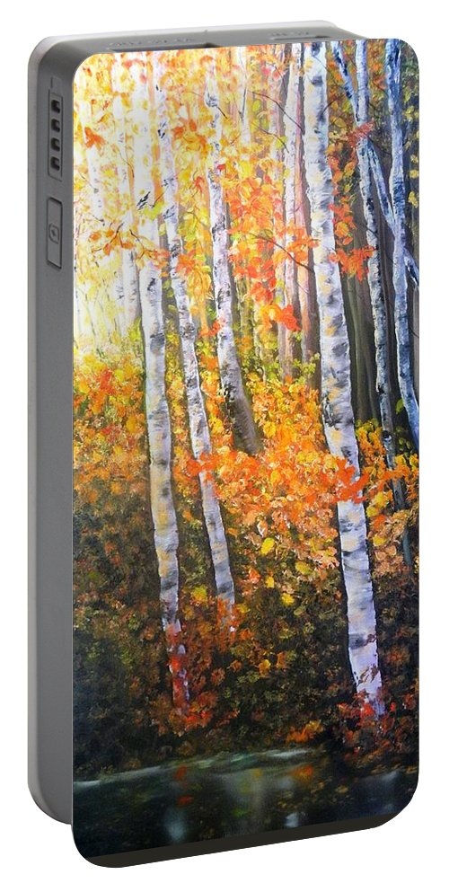 Aspens Portable Battery Charger featuring the painting Autumn Glow by Patti Gordon