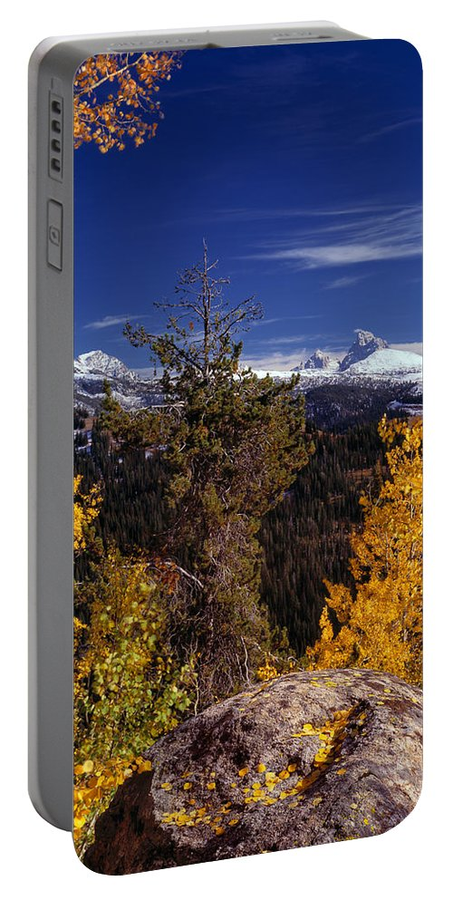 Aspens Portable Battery Charger featuring the photograph Autumn In The Tetons by Leland D Howard