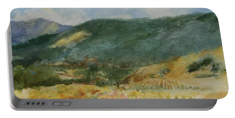 Autumn In The Vineyards Portable Battery Charger featuring the painting Harvest Time In Napa Valley by Maria Hunt
