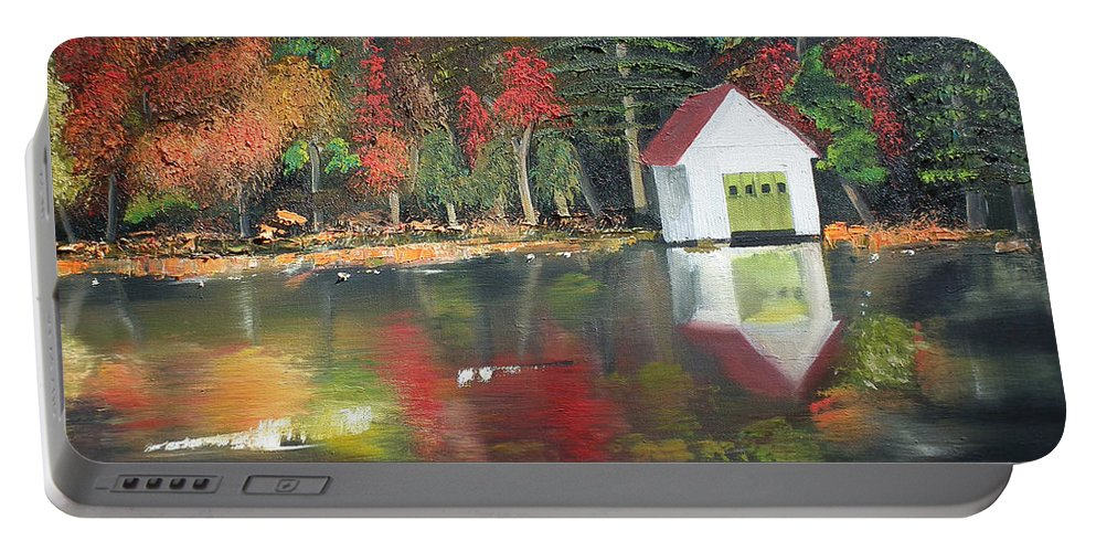 Happy Little Trees Portable Battery Charger featuring the painting Autumn - Lake - Reflecton by Jan Dappen